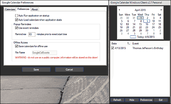 google calendar client for windows