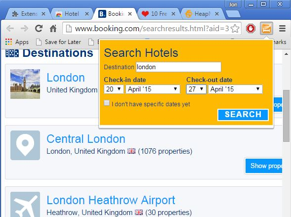hotel search extensions chrome 2