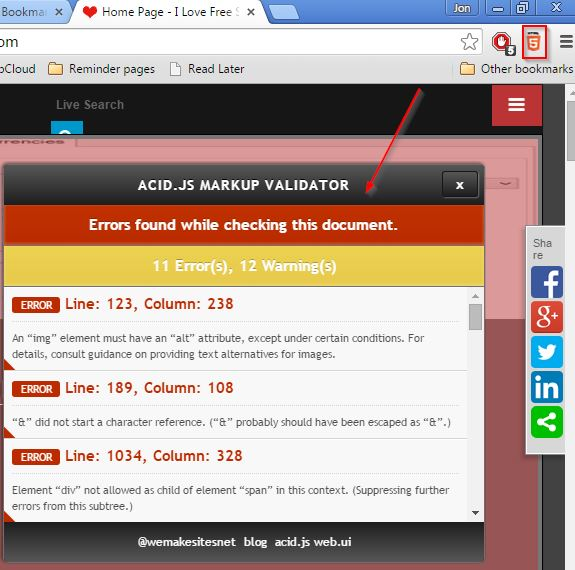 html validator extensions chrome 4