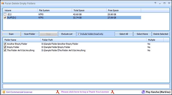 puran delete empty folders