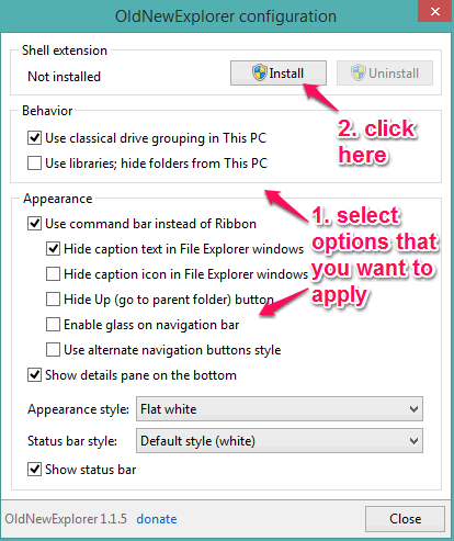 select options to apply and click on Install button