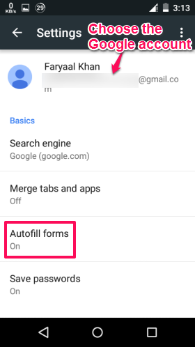 Choose Account and Autofill Forms