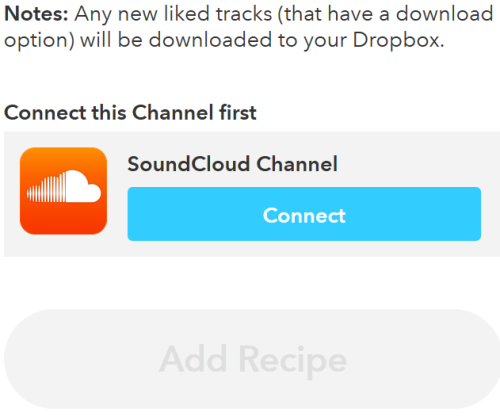 Connect with SoundCloud and Dropbox accounts