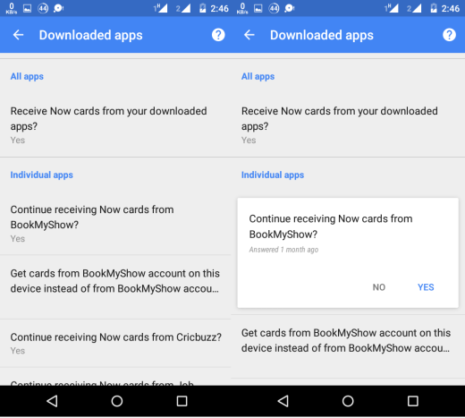 Disable Google Now Cards for Third Party Apps