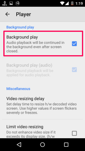 Enable Background Play