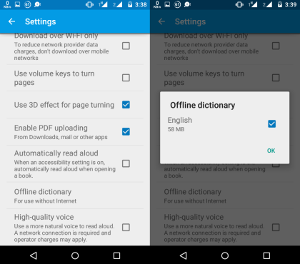 Enable Offline Dictionary in Google Play Books