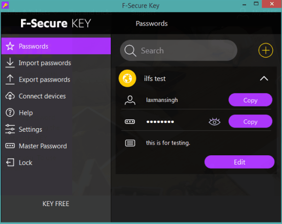 F-Secure Key- interface