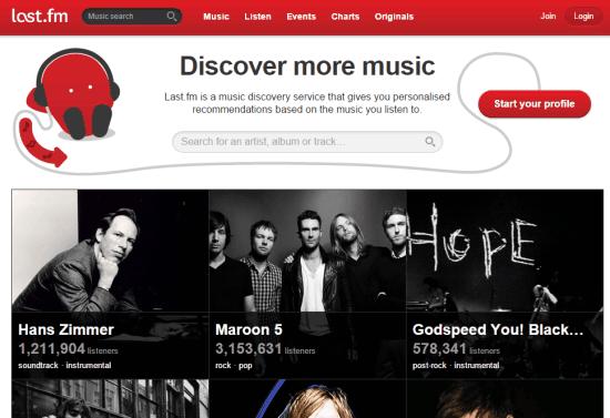 Last.fm- homepage