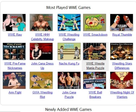 play WWE games online