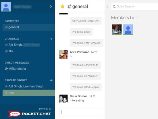 Rocket.Chat web chat service