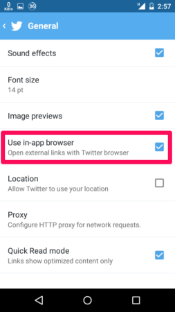Uncheck In-app Browser