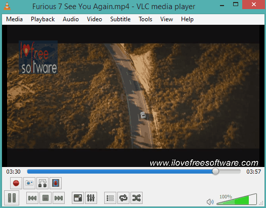 VLC's built-in feature to add text and image watermark to video