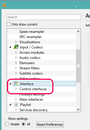 access Control interfaces option available under Interface option