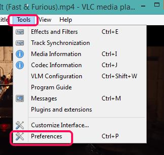 access Preferences option