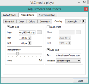 How To Add Image and Text Watermark To Video using VLC