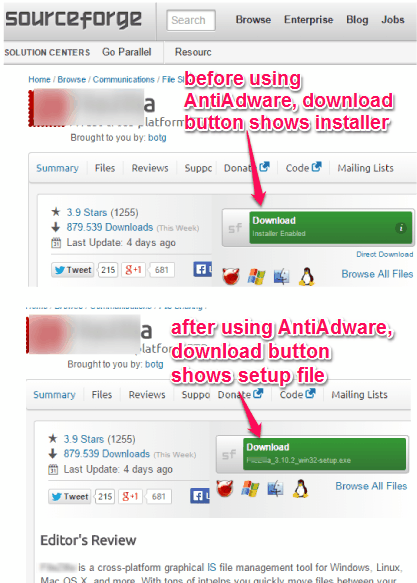 before and after comparison for AntiAdware