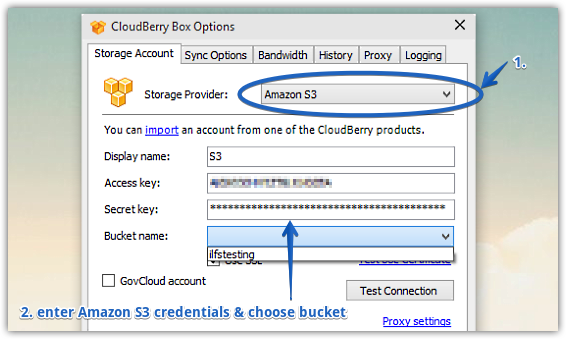 cloudberry box settings window