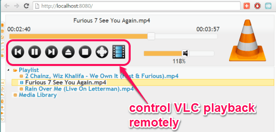 control VLC playback remotely using built-in feature
