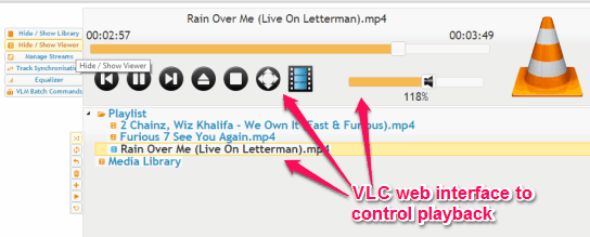 control VLC playback using web interface