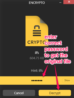 decrypt the encrypted file using correct password