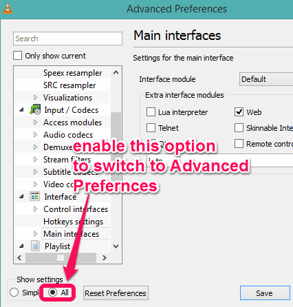 enable All option to switch to Advanced Preferences window