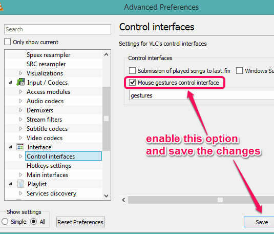 enable Mouse gestures option and save the changes