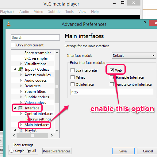 enable Web option available in Main interfaces option