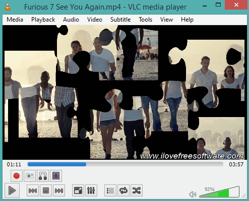 how to play puzzle game using a video in VLC with built-in feature