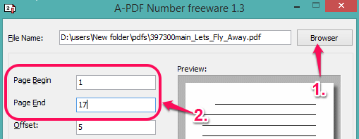 insert PDF file and set pages range
