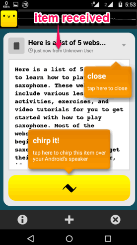 item received on Android app interface of Chirp