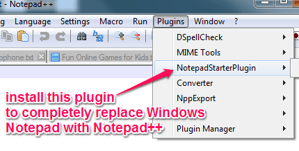 replace Windows Notepad with Notepad++