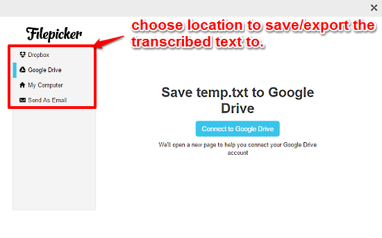 save transcribed text