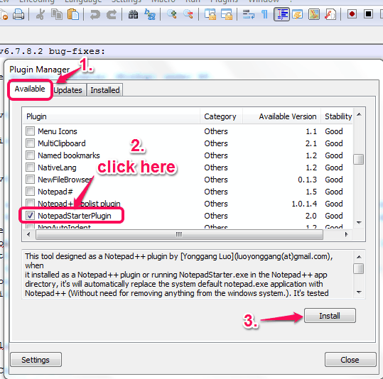 select NotepadStarterPlugin option and use Install button