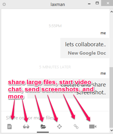 use available options to share files and chat