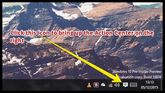 windows 10 access action center