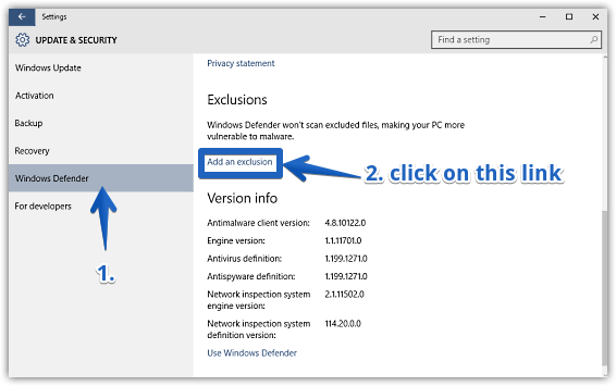 windows 10 access exclusions pane