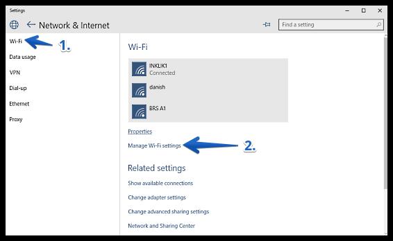 windows 10 access wifi settings