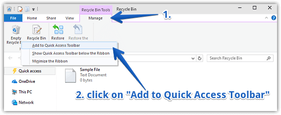 windows 10 add empty recycle bin to quick access toolbar