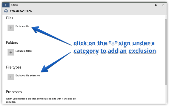 windows 10 add exclusions