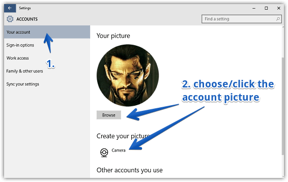 windows 10 change account picture