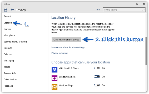 windows 10 clear location history