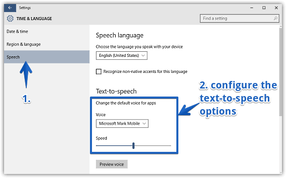windows 10 configure text to speech options