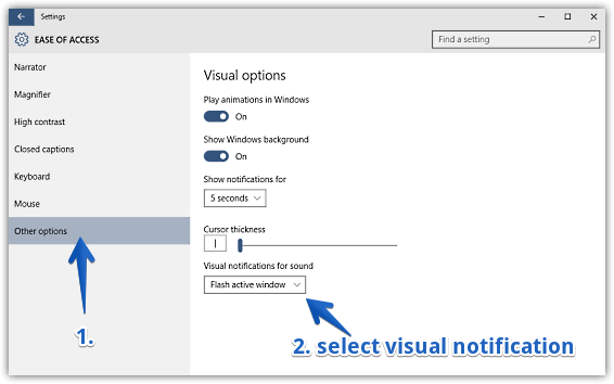 windows 10 configure visual notifications for sounds