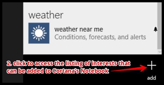 windows 10 cortana add interests