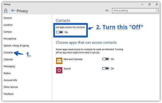 windows 10 disable contacts access by apps