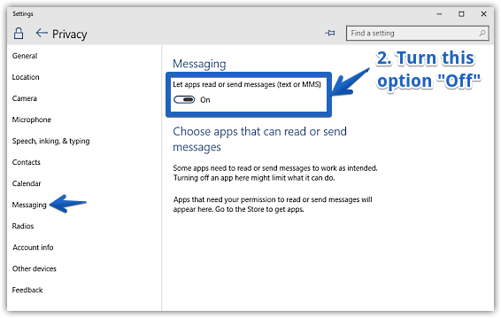 windows 10 disable messaging access for apps