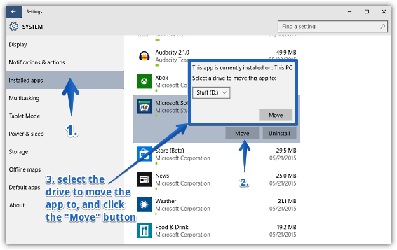 windows 10 move apps from one drive to another