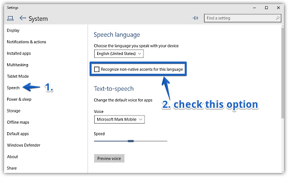 windows 10 recognize non-native accents