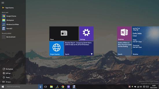 windows 10 start menu full screen