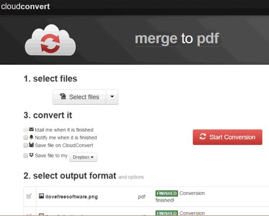 CloudConvert- interface